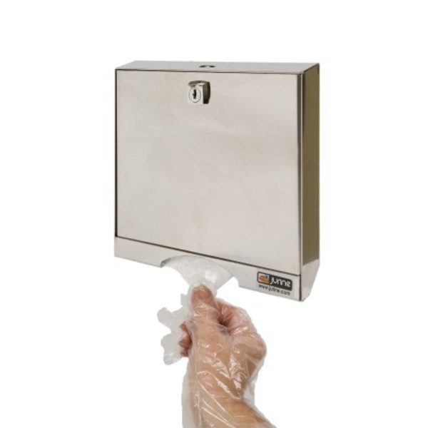 Stainless steel dispenser for PE gloves lockable